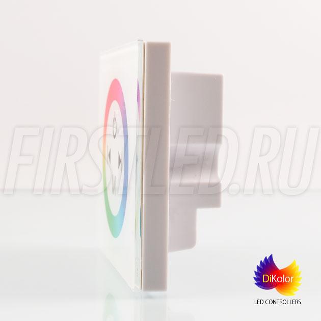 Светодиодный контроллер DiKolor TOUCH RGB в белом корпусе — вид сбоку