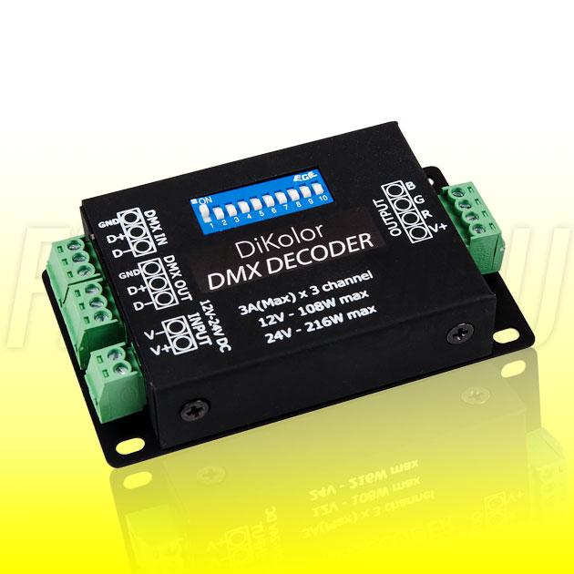 Светодиодный DMX приемник DiKolor DMX DECODER 3CH (3A)