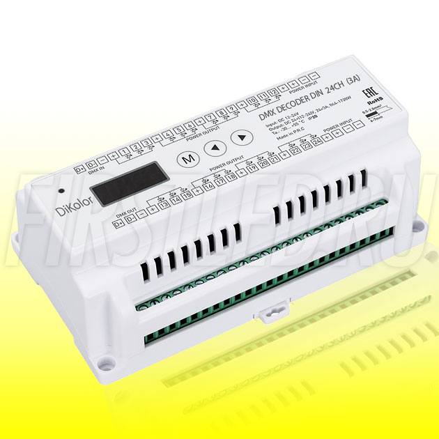 Светодиодный DMX приемник DiKolor DMX DECODER на DIN-рейку 24CH (3A)