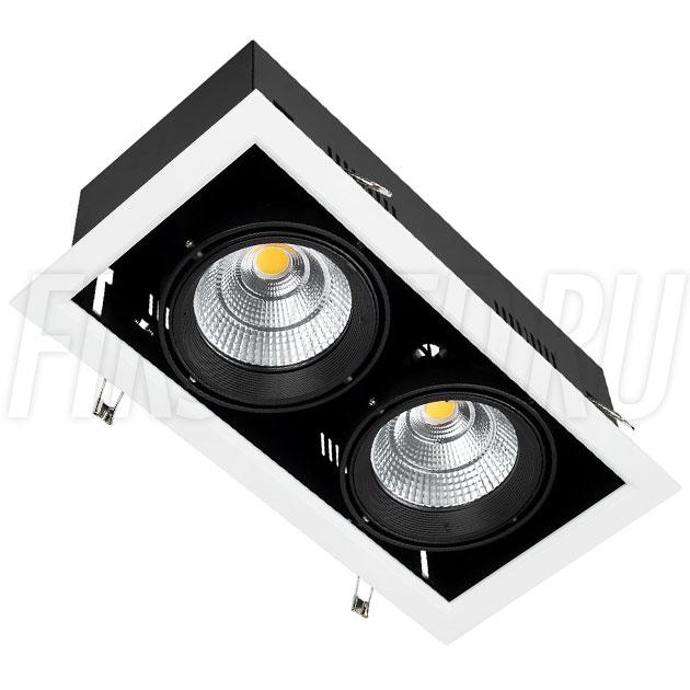 Встраиваемый карданный светодиодный светильник KARDAN 2x25W (190mm)