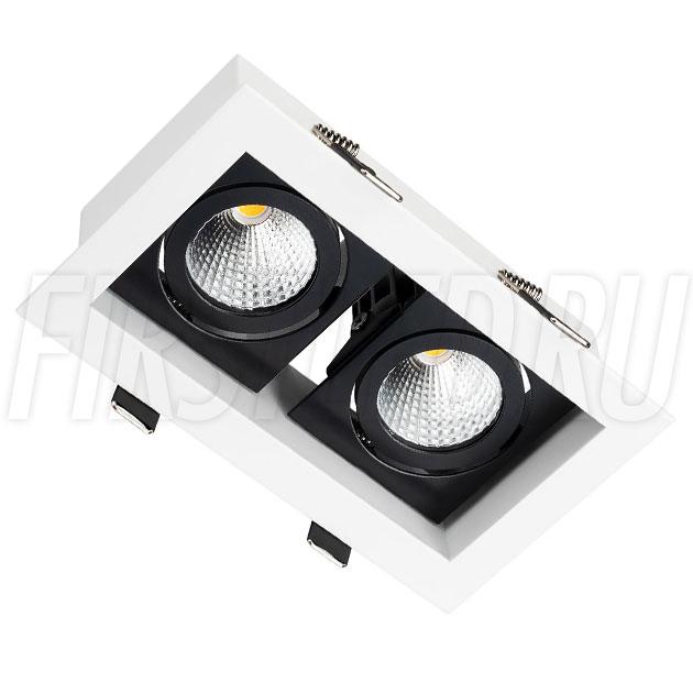 Встраиваемый карданный светодиодный светильник KARDAN 2x9W (Черный с белой рамкой)