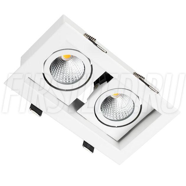 Встраиваемый карданный светодиодный светильник KARDAN 2x9W (Белый с белой рамкой)