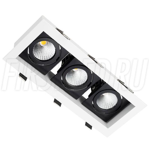 Встраиваемый карданный светодиодный светильник KARDAN 3x9W (Черный с белой рамкой)