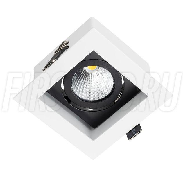 Встраиваемый карданный светодиодный светильник KARDAN 9W (Черный с белой рамкой)