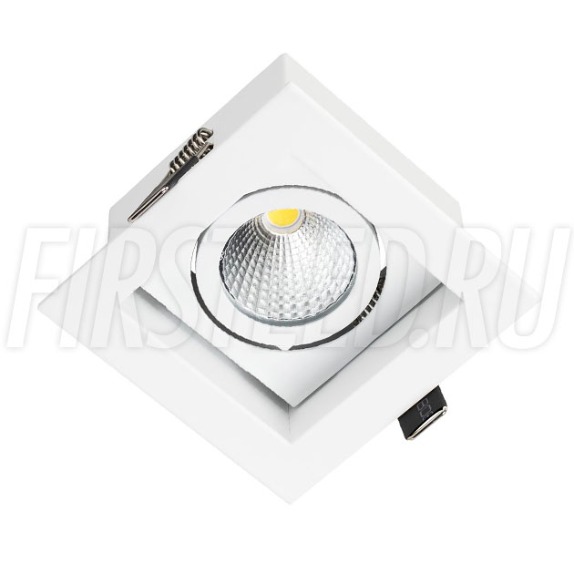 Встраиваемый карданный светодиодный светильник KARDAN 9W (Белый с белой рамкой)