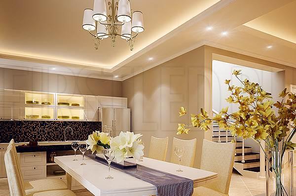 Светодиодная подсветка потолка и потолочных ниш в столовой или на кухнеСветодиодная подсветка потолка и потолочных ниш в столовой или на кухне