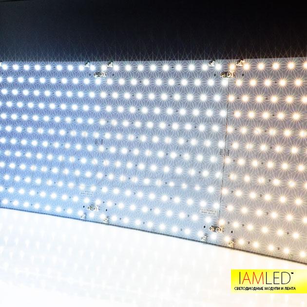 Доступно три типа освещения светодиодными модулями: холодный белый (6000K), дневной белый (4000K) или теплый белый (3000K)