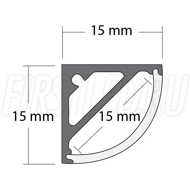 Чертеж (схема) углового светодиодного алюминиевого профиля TALUM C15.15