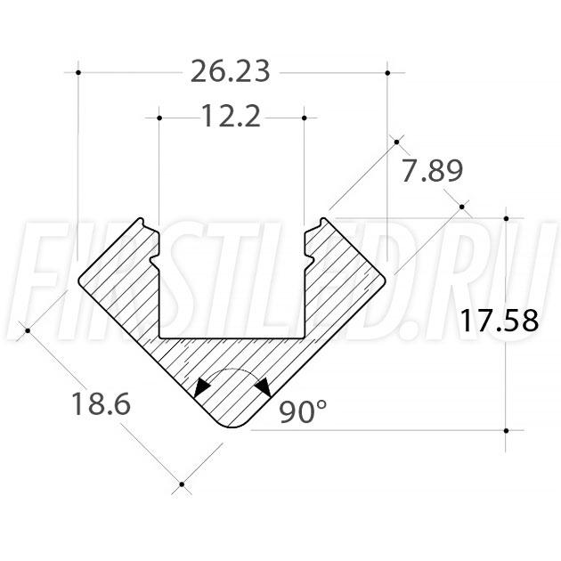 Чертеж (схема) светодиодного профиля TALUM C18.18