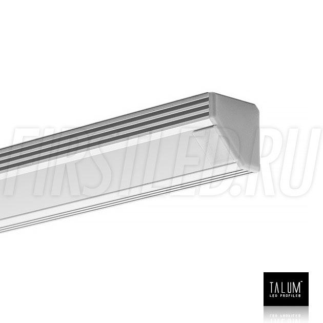 Угловой алюминиевый профиль TALUM C19.19 с заглушкой и матовым рассеивателем