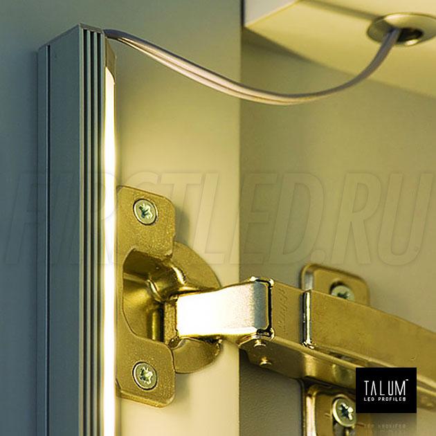 Освещение в шкафу угловым профилем TALUM C19.19