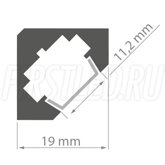Чертеж (схема) углового светодиодного алюминиевого профиля TALUM С19.19