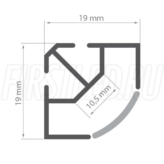 Чертеж (схема) светодиодного алюминиевого профиля TALUM C19.19A