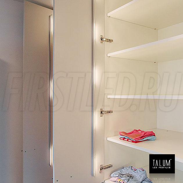 Освещение в шкафу полок благодаря угловому профилю TALUM C19.19G