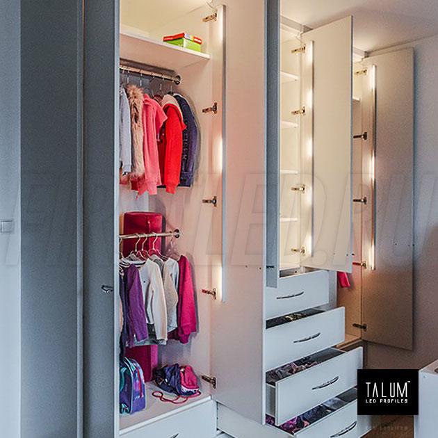Освещение в шкафу угловым профилем TALUM C19.19G