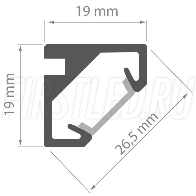 Чертеж (схема) светодиодного профиля TALUM C19.19G