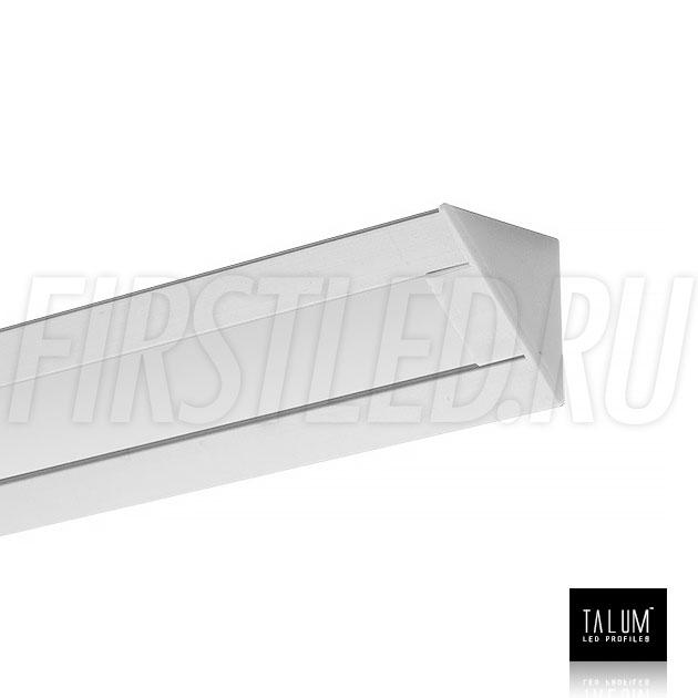 Угловой алюминиевый профиль TALUM C22.22 с заглушкой и матовым рассеивателем