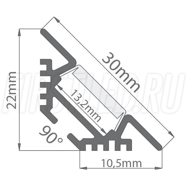 Чертеж (схема) светодиодного алюминиевого профиля TALUM C22.22