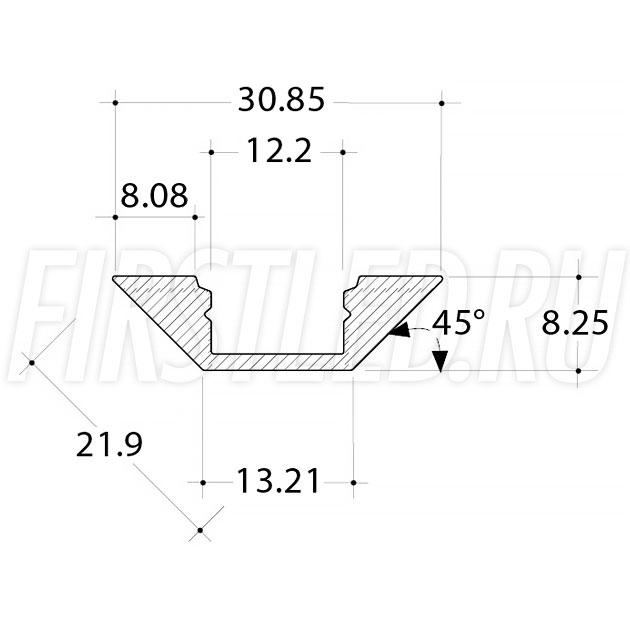 Чертеж (схема) светодиодного профиля TALUM C22.22A