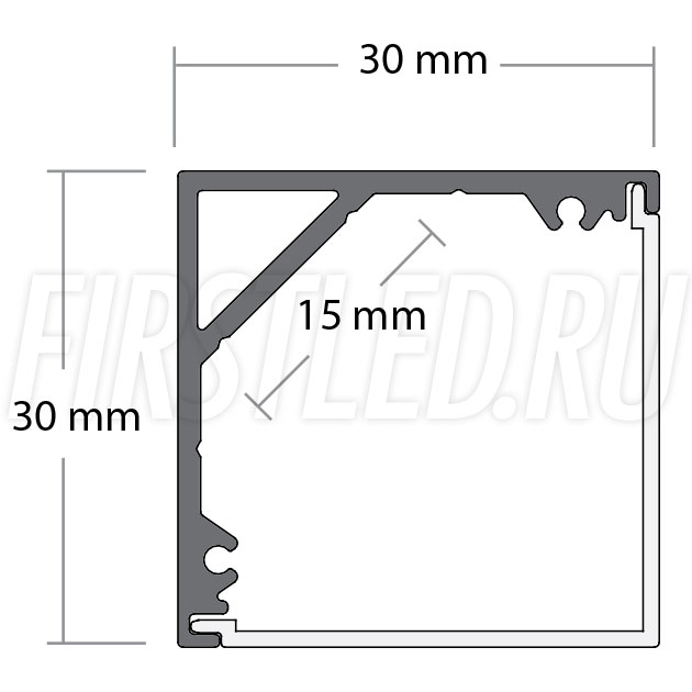 Чертеж (схема) светодиодного алюминиевого профиля TALUM C30.30K