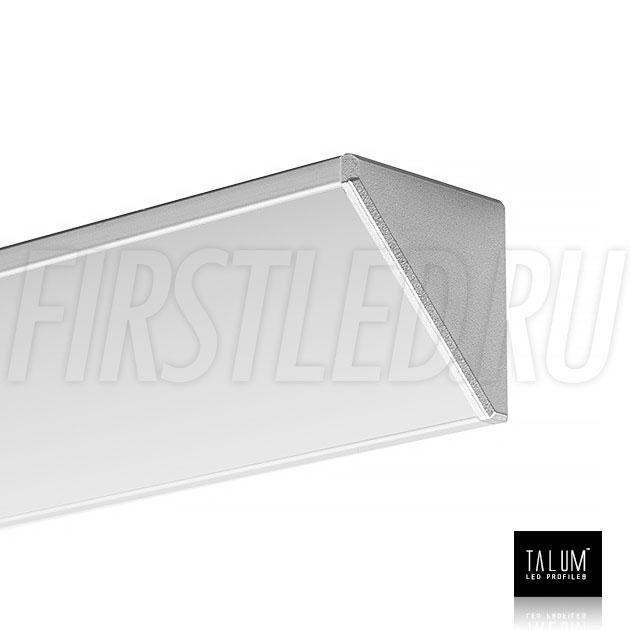 Угловой алюминиевый профиль TALUM C32.32 с заглушкой и прямым матовым рассеивателем