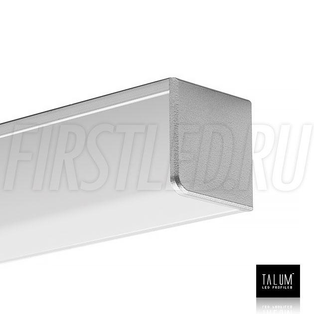 Угловой алюминиевый профиль TALUM C32.32 с заглушкой и квадратным матовым рассеивателем