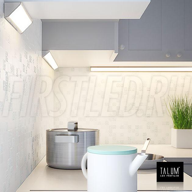 Подсветка кухонной зоны угловым профилем TALUM C32.32
