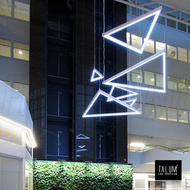 Креативная подсветка на подвесах с помощью профиля TALUM C32.32
