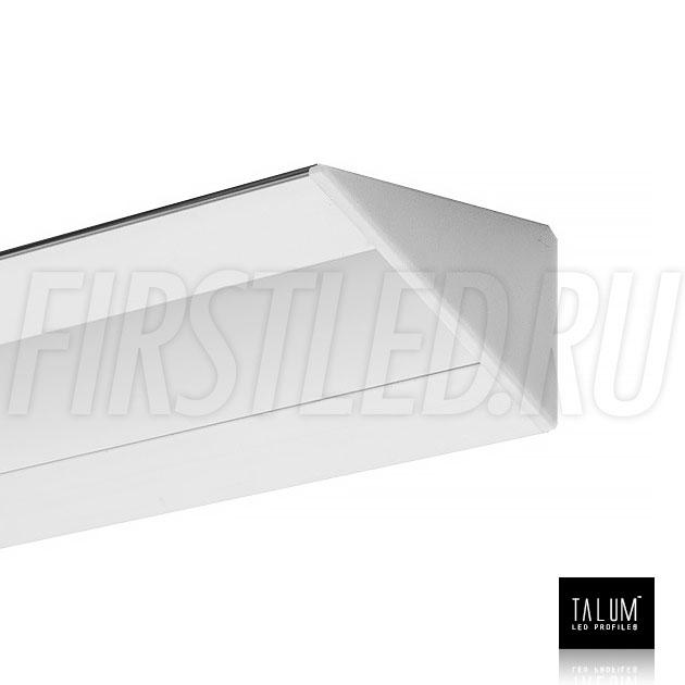 Угловой алюминиевый профиль TALUM C46.27 с заглушкой и матовым рассеивателем