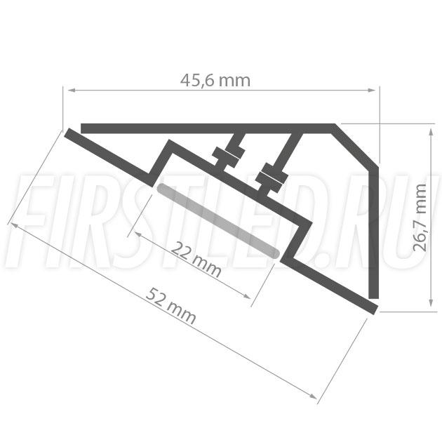 Чертеж (схема) светодиодного алюминиевого профиля TALUM C46.27
