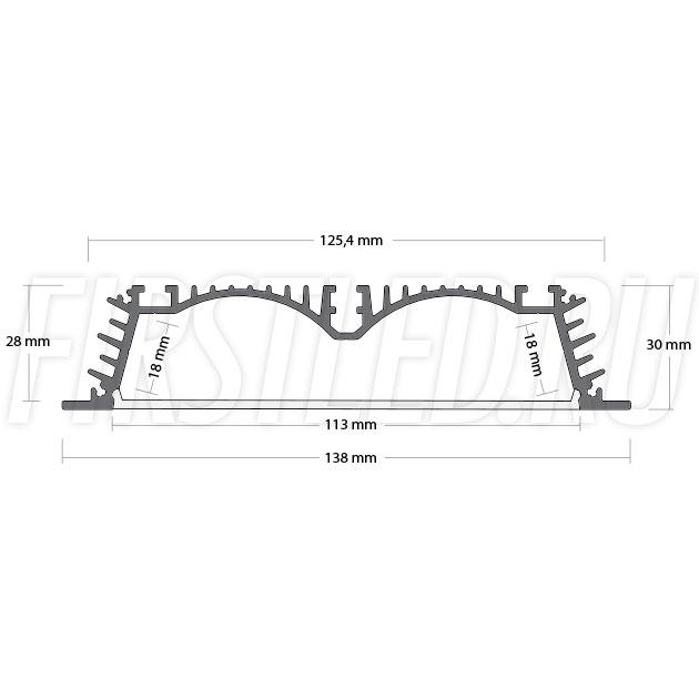 Чертеж (схема) светодиодного профиля TALUM E138.30