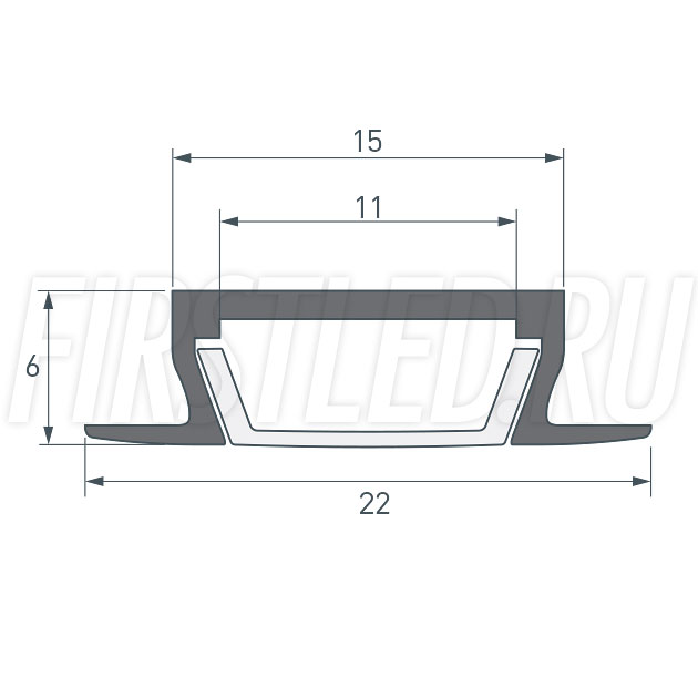 Чертеж (схема) светодиодного встраиваемого алюминиевого профиля TALUM E22.6