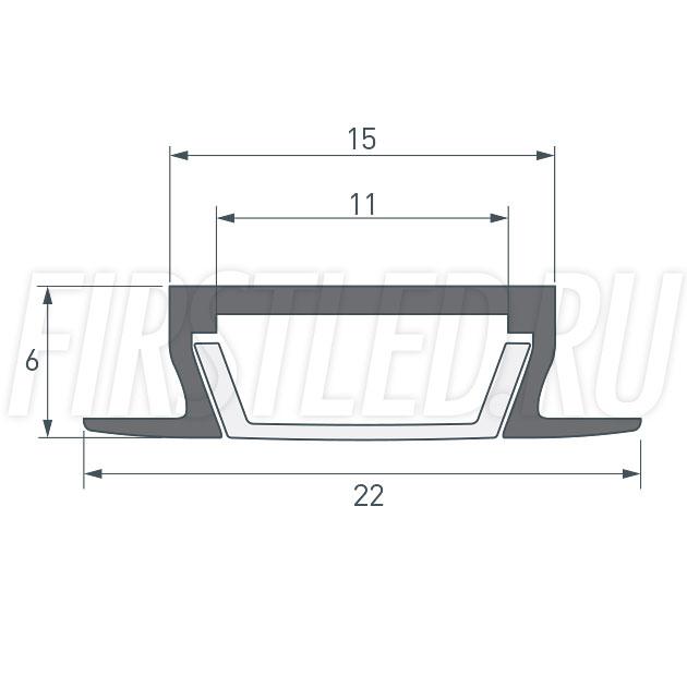 Чертеж (схема) светодиодного профиля TALUM E22.6