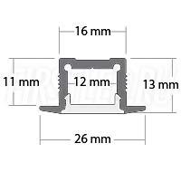 Чертеж (схема) светодиодного профиля TALUM E26.13
