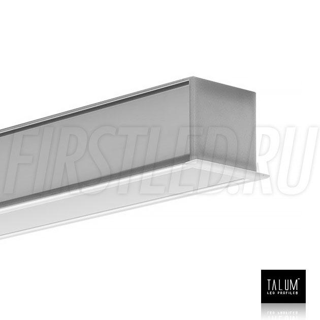 Встраиваемый алюминиевый профиль TALUM E30.25 с заглушкой и матовым рассеивателем