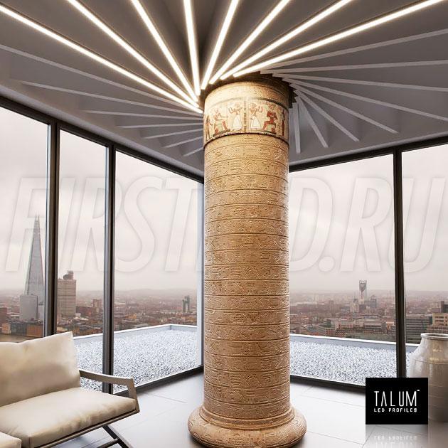 Встраиваемый профиль TALUM E30.25 в необычном освещении колонны
