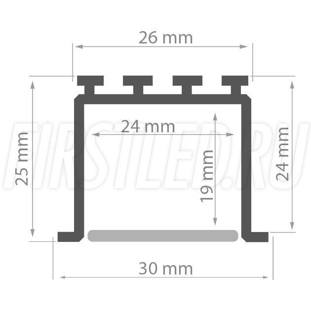 Чертеж (схема) светодиодного алюминиевого профиля TALUM E30.25