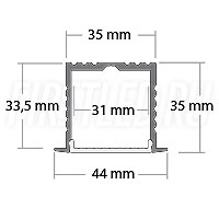 Чертеж (схема) встраиваемого светодиодного алюминиевого профиля TALUM E44.35