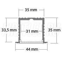 Чертеж (схема) светодиодного профиля TALUM E44.35