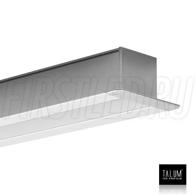 Встраиваемый алюминиевый профиль TALUM E46.25 с заглушкой и матовым рассеивателем