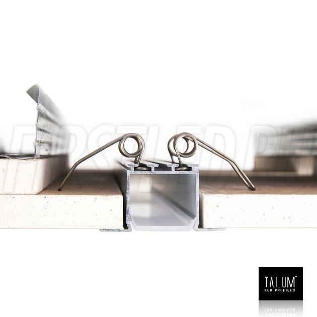 Монтаж встраиваемого алюминиевого профиля TALUM E46.25 с помощью пружинных держателей
