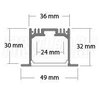 Чертеж (схема) встраиваемого светодиодного алюминиевого профиля TALUM E49.32
