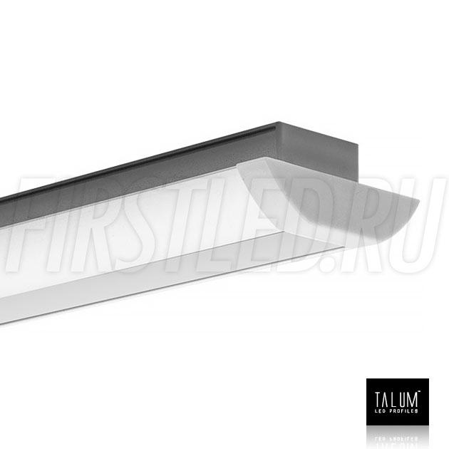 Встраиваемый алюминиевый профиль TALUM E51.25 с заглушкой и матовым рассеивателем
