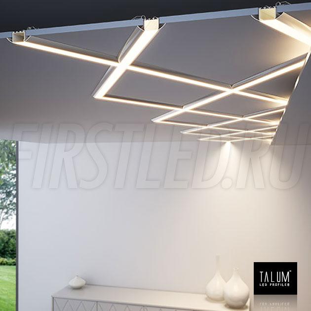 Необычные световые линии из встраиваемого профиля TALUM E51.25 и специальных соединителей