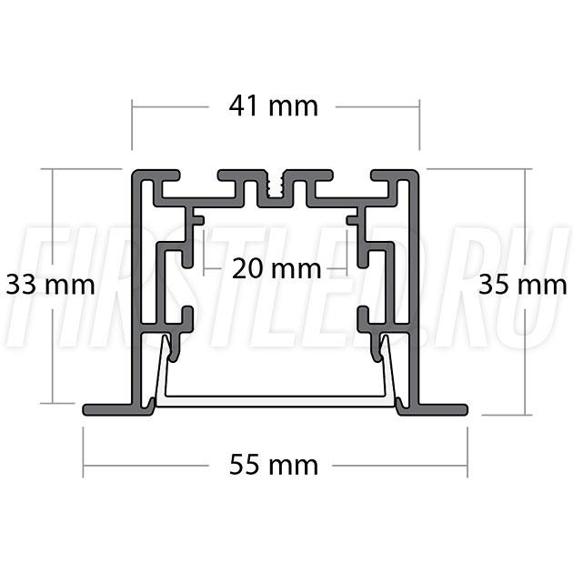 Чертеж (схема) светодиодного профиля TALUM E55.35