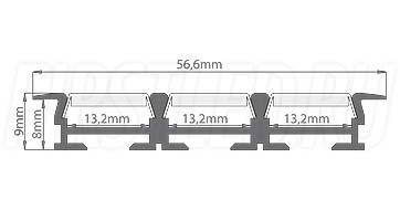 Чертеж (схема) светодиодного профиля TALUM E57.9