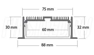 Чертеж (схема) встраиваемого светодиодного алюминиевого профиля TALUM E88.32