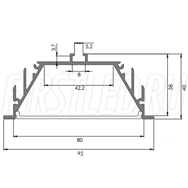 Чертеж (схема) светодиодного алюминиевого профиля TALUM E92.40