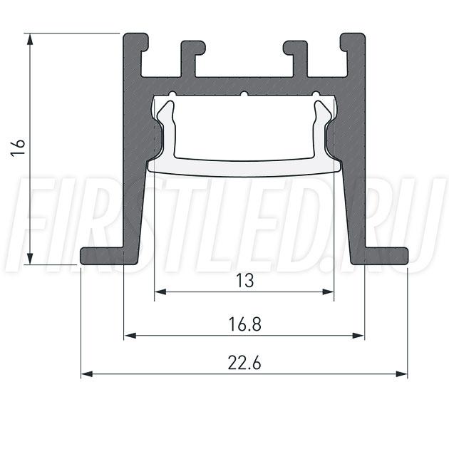 Чертеж (схема) светодиодного профиля TALUM HIDE E23.16
