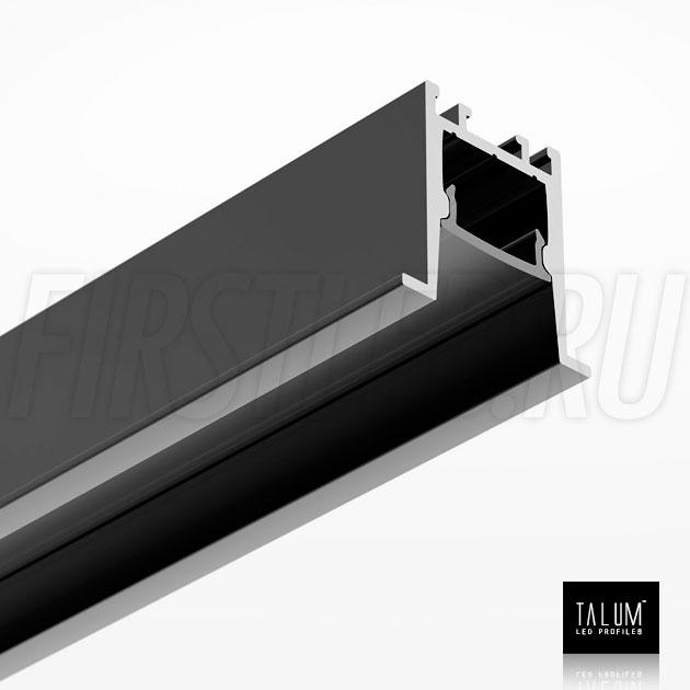 Встраиваемый алюминиевый профиль TALUM HIDE E23.22 BLACK (черный) вместе с черным матовым рассеивателем